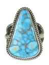 High-Grade Kingman Turquoise Gem Ring Adjustable Size 9-10 by Albert Jake