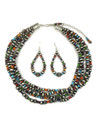 Five Strand Multi Gemstone Silver Bead Necklace Set (NK4358a)