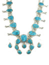 Kingman Turquoise Squash Blossom Necklace Set (NK4542)