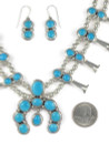 Blue Bird Turquoise Squash Blossom Necklace Set by Lyle Piaso (NK4585)