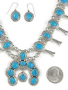 Blue Bird Turquoise Squash Blossom Necklace Set by Lyle Piaso (NK4590)