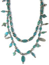 Long Double Strand Turquoise Silver Bead Charm Necklace (NK4707)