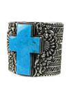 Kingman Turquoise Cross Cuff Bracelet by Tsosie White (BR7013)