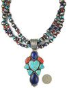 Kingman Turquoise, Lapis & Spiny Oyster Shell Heart Necklace Set (NK4744)