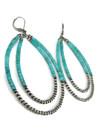 "Turquoise Silver Bead Double Loop Earrings 3 1/2""(ER5032)"