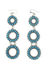 "Turquoise Petit Point Dangle Earrings 4"" by Milburn Dishta (ER5571)"