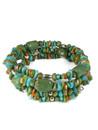 Turquoise, Spiny Oyster Shell, Gaspeite Beaded Wrap Bracelet (BR6303)