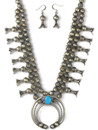 Sleeping Beauty Turquoise Squash Blossom Necklace Set by Leon Kirlie (NK4278)