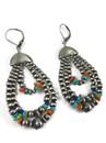 Multi Gemstone Silver Bead Triple Loop Earrings (ER5652)