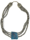 Turquoise Silver Bead Necklace by Raymond Delgarito (NK4865)
