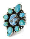 Golden Hills & Sonoran Turquoise Cluster Ring Size 9 by Albert Jake (RG8600)