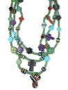 Turquoise Heishi Inlaid Bead Cross Treasure Necklace (NK4877)