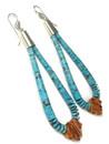 "Turquoise & Spiny Oyster Shell Jacla Earrings 4"" (ER5859)"