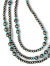 "Turquoise & Silver Bead Necklace 60"" (NK4911)"
