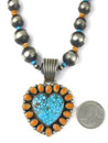 Kingman Turquoise & Spiny Oyster Shell Heart Necklace Set (NK4937)