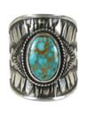 Kingman Turquoise Cigar Band Ring Size 9 by Derrick Gordon (RG6030)