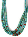 Three Strand Turquoise Heishi & Spiny Oyster Shell Necklace (NK4962)