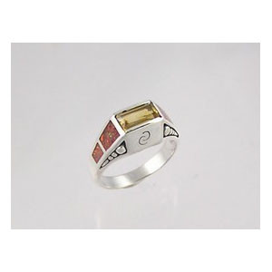 Citrine & Opal Inlay Ring Size 7
