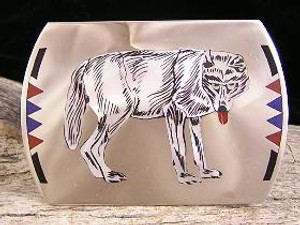 Zuni Inlay Wolf Belt Buckle - Edaake