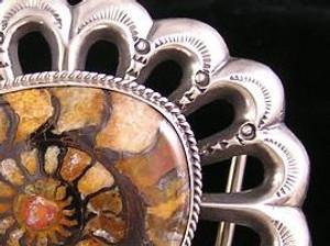 Fossilized Ammonite Belt Buckle - 1 1/4