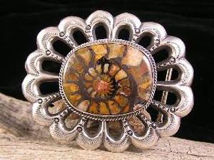 Fossilized Ammonite Belt Buckle - 1 1/4