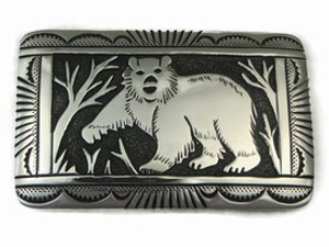 Sterling Silver Bear Belt Buckle by Tommy Singer, Navajo Jewelry