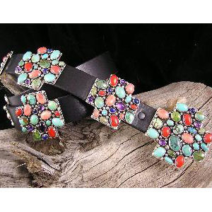 Multi Gemstone Cross - Zia - Concho Belt