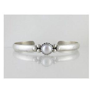 Sterling Silver Gallery Wire Pearl Bracelet