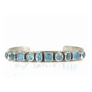 Sterling Silver Blue Topaz Bracelet by Tommy Thompson, Navajo
