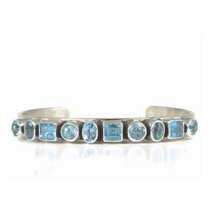 Sterling Silver Blue Topaz Bracelet by Tommy Thompson, Navajo