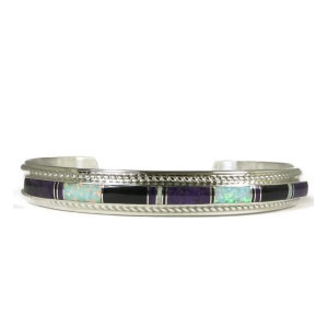 Sugilite, Jet & Opal Inlay Bracelet by Thomas Francisco