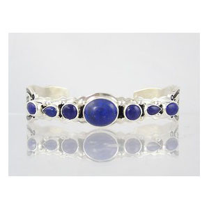 Sterling Silver Lapis Row Bracelet with Arrows