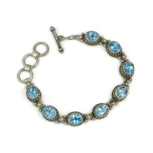 Sterling Silver Blue Topaz Gallery Wire Link Bracelet