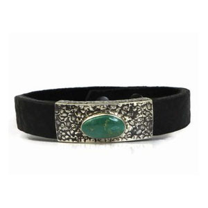 Sterling Silver Turquoise & Leather Bracelet - 8""