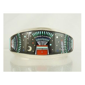 Micro Inlay Night Scene Bracelet by Ervin Tsosie