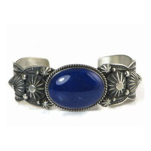 Handmade Sterling Silver Lapis Bracelet by Albert Jake - Large (BR5103)