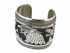 Sterling Silver Large Eagle Bracelet by Tommy Singer, Navajo Indian Jewelry