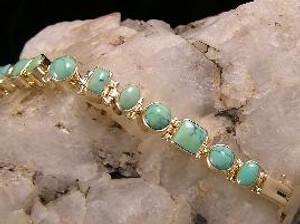 14k Gold Turquoise Link Bracelet