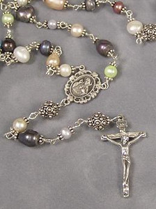 Pastel Freshwater Pearl Rosary Beads (CR064)