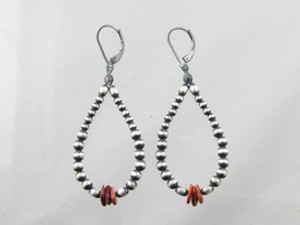 Antiqued Silver Bead & Spiny Oyster Shell Earrings