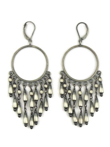Antiqued Sterling Silver Beaded Dangle Earrings