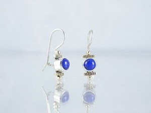 14k Gold & Silver Lapis Earrings