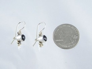 14k Gold & Silver Onyx Earrings