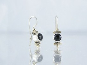 14k Gold & Silver Onyx Earrings