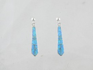 Sterling Silver Blue Opal Inlay Earrings (ER0460)