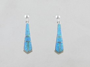 Sterling Silver Blue Opal Inlay Earrings (ER0461)