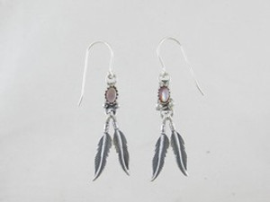 Sterling Silver Pink Mother of Pearl Feather Earrings (ER0472)