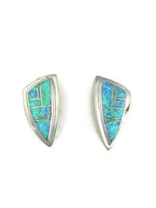 Sterling Silver Blue Opal Inlay Earrings (ER1855)