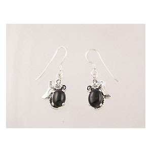 Sterling Silver Onyx Dangle Earrings (ER1924)