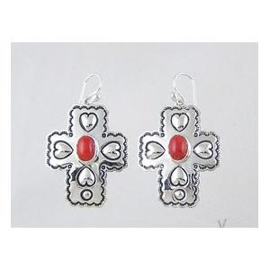 Sterling Silver Mediterranean Coral Cross Earrings